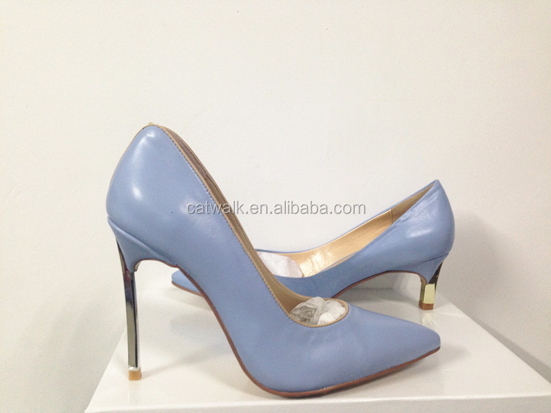 Wholesale Hot Sale Catwalk New Design Fashion High Heel Pumps Mature Sexy Elegant Light Blue Women Designer Heels