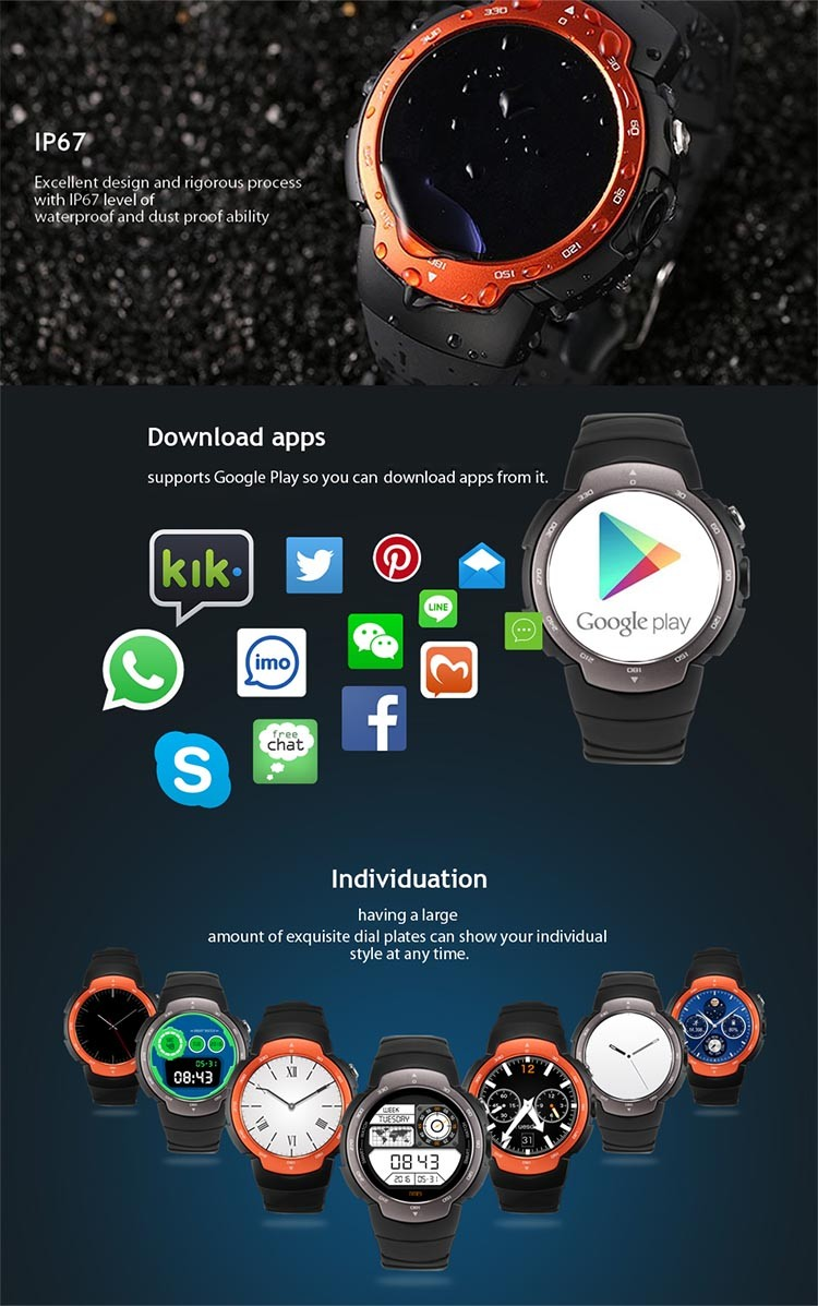 Built in HD camera WiFi GPS 3G Android Watch phone