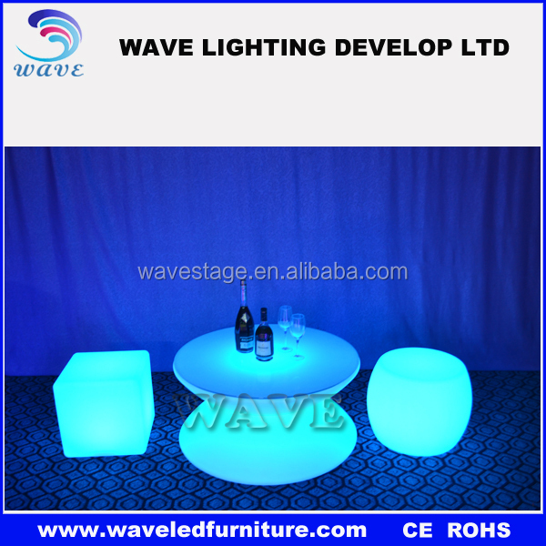 PE plastic nightclub illuminated chairs and tables led bar stool