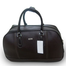 Compatible Quality Pu Leather Travel Duffel Trolley Luggage Bag