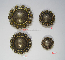 antique silver gold Rope berry conchos
