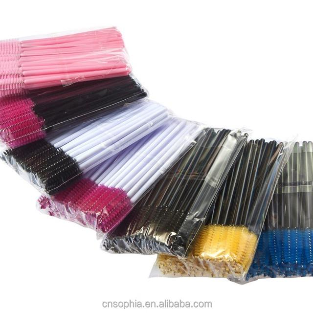 Disposable Eyelash Brush Mascara Wands Applicator Spoolers Makeup Pink 100PCS