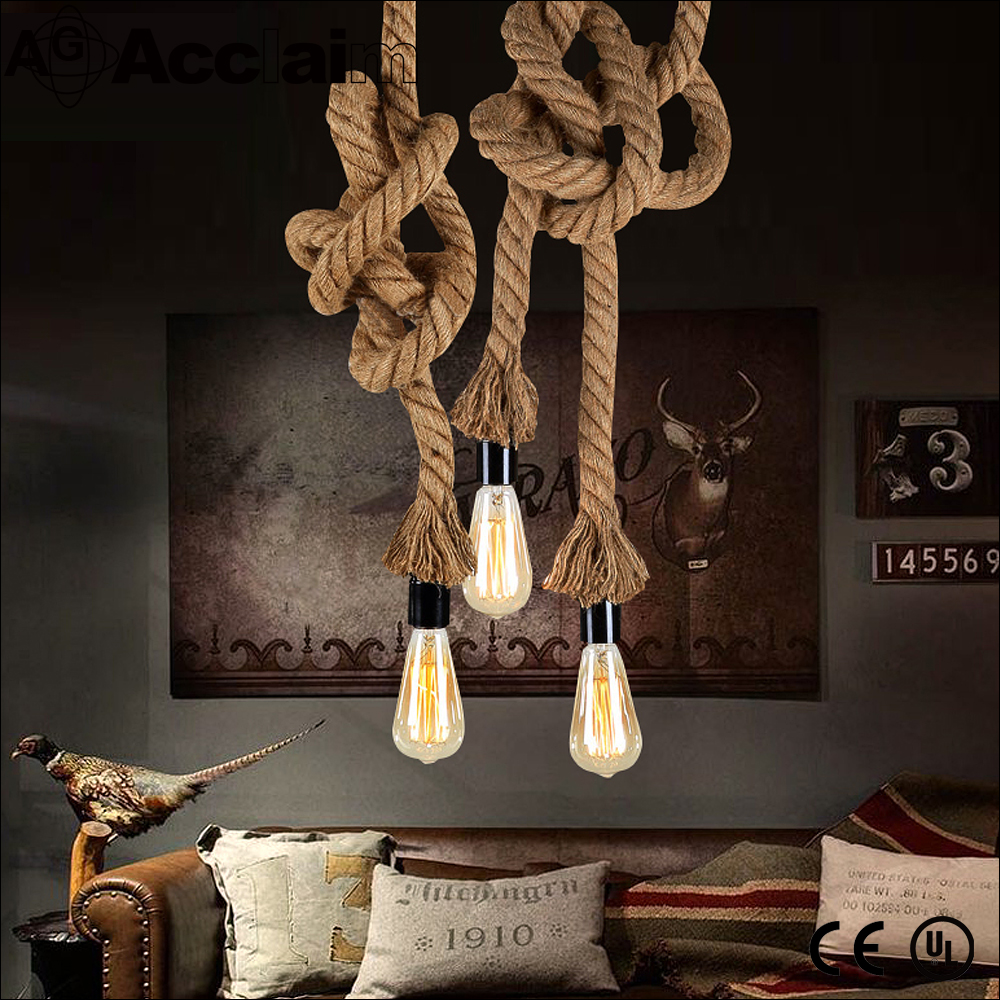 Perfect show Hemp Rope Chandelier Retro Country Style Ceiling Pendant Light