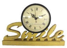 retro vintage yellow mdf smile bedside table clocks