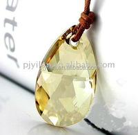 quartz alphabet yellow crystal drop pendant