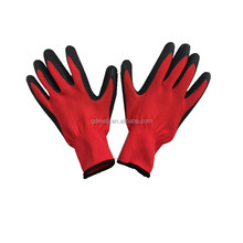 Black Rubber Latex Palm Coated Grip On Red Nylon Liner Work Gloves