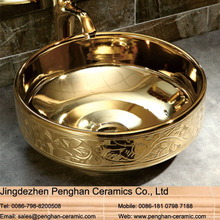 Jingdezhen modern vanity art ceramic golden wash basins