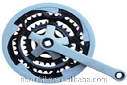 Hebei Tieniu Bicycle factory chainwheel & crank 28T/38T/48T*165mm, Grey Plastic cover
