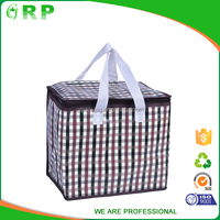Promotional cheap children printed colorful plaid portable insulated outdoor cooler bag