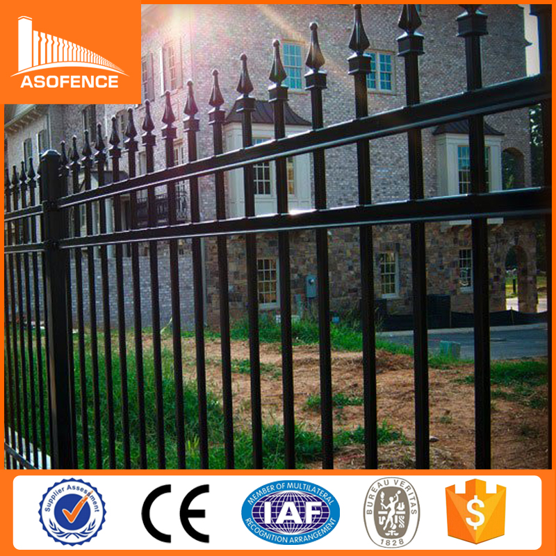 China alibaba galvanized steel picket fence, steel parking lot fence, heavy duty steel fence panels