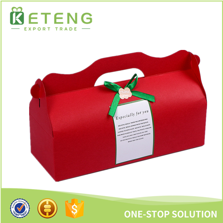 Christmas cardboard cake box for packing gift boxes with handles