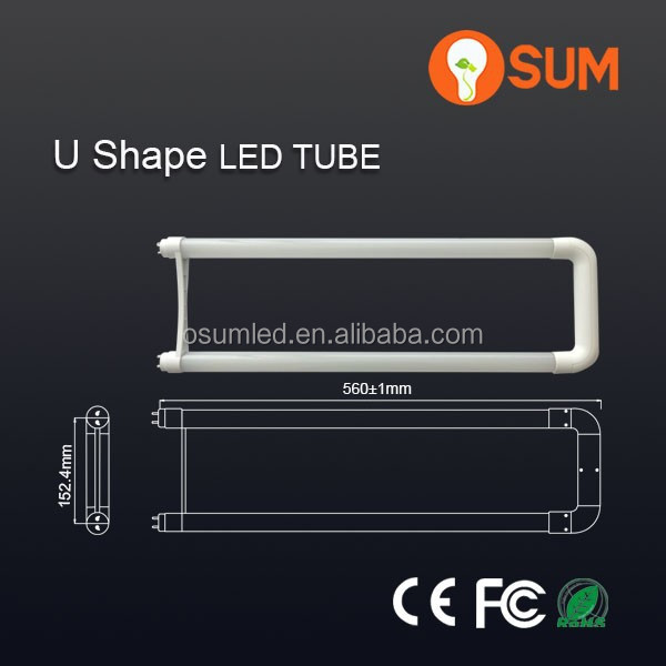 High CRI 80Ra t8 <strong>u</strong> shaped led <strong>lamp</strong> tube 100-240VAC