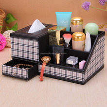 Multi-fucntional office faux leather tissue box desktop organizer