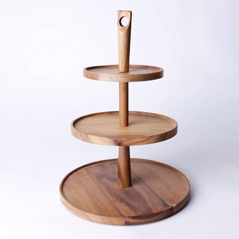Low Price 2 Tiered Tier Wood Rustic Cake Cupcake Pie Stand for Party