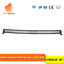 50 Inch 288w 4x4 LED Car Light, Curved LED Light Bar Off Road, Auto LED Light Arch Bent