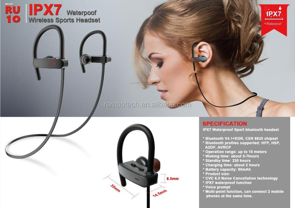 RU10 Bluetooth Earphone Waterproof IPX7 With Noise Cancellation And Long Working Range-Sharon