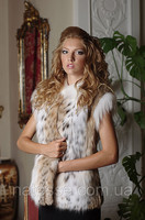 Canadian Lynx Natural Real Fur Vest Gilet Waist Coat Sleeveless Coat, Length=67 Cm