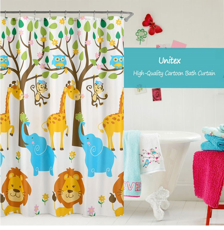 Custom printed polyester shower curtains