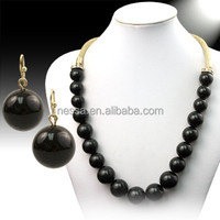 Gold chain black bead necklace designs 72462