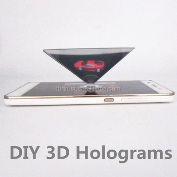 2016 new models 3D Hologram Display Smartphone 3D holographic projector,Mini Pyramid Hologram for smartphone