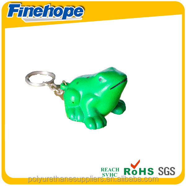 Customize Polyurethane foam OEM 3d rubber PU toy frog purse hanging key chain