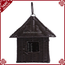 New resin wicker woven mini hanging style cheap wholesale bird houses