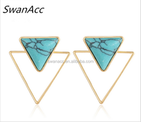 Bohemian Turquoise Stud Earrings Triangle Natural