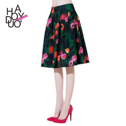 HAODUOYI Women Rural Floral Print A-Line Skirts High Waist A Line Skirt for Wholesale