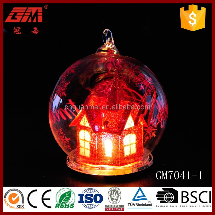 80mm bubble glass lighted ball with red PVC house inside