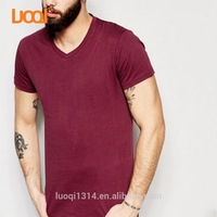 Luoqi Oem 100% Cotton 180g Claret-Red Colour V Neck Slim Fit Plain Custom Men Wholesale T Shirts