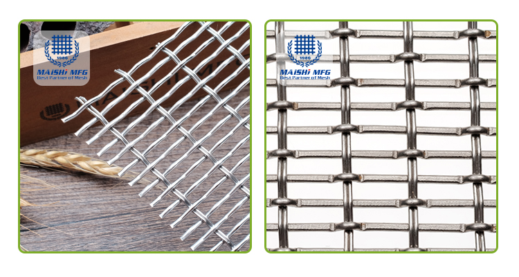 Crimped woven stainless steel railing woven wire fabric for decoration