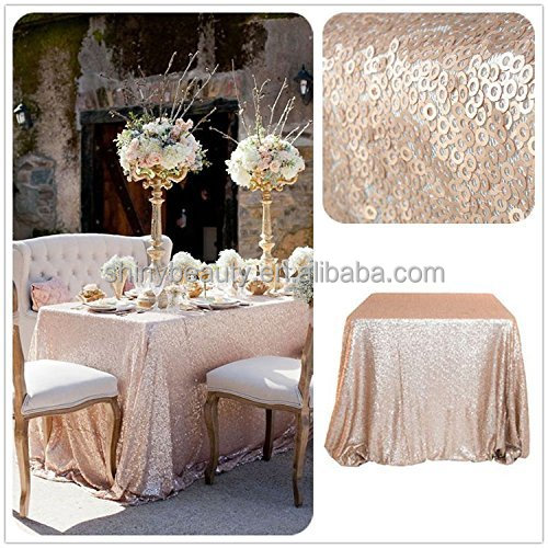Champagne Blush Rectangle Sequin Tablecloths-90x132-Inch For 6FT Table Wedding/Party/Event/Decor