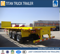 China new flatbed container truck and trailer dimensions with 40feet 3 axles