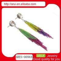 Free sample stainless steel long peacock tail style tassels earrings design