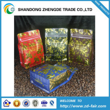 one-way valve Quad seal foil flat bottom box coffee pouch manufacturer packaging bags,Box Bottom Coffee Bag