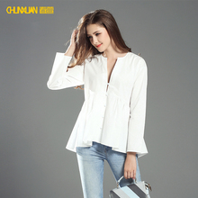 2017 hot sale white long sleeve casual women blouse for summer wear