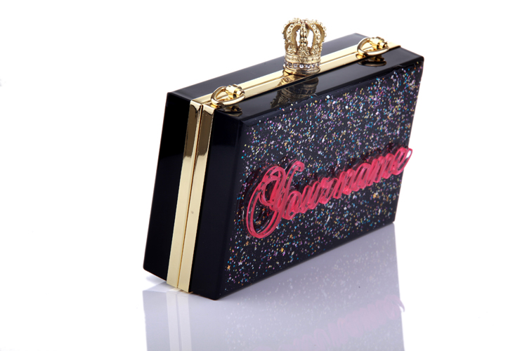 Handmade high quality customized Light in the Dark acrylic evening clutches