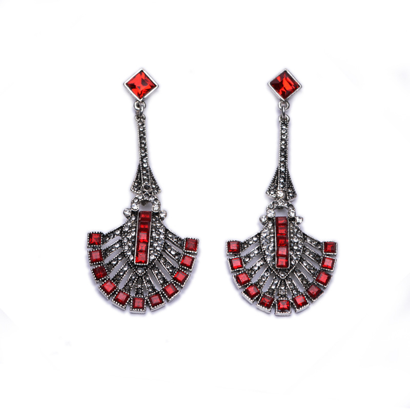 Vintage European and American Alloy Earrings Long Gemstone Crystal Imitation Rhinestone Earring For Women