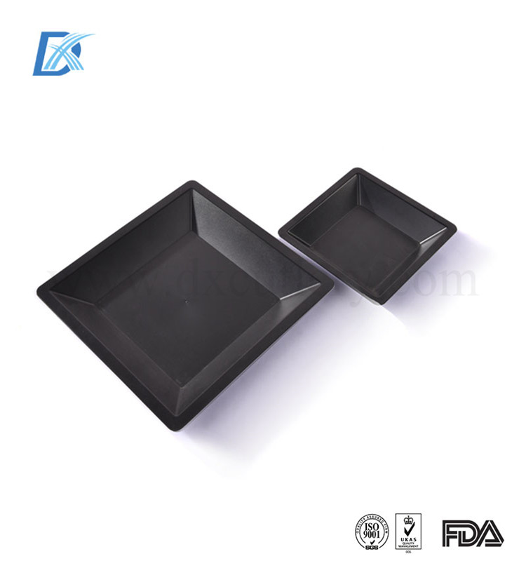 Free Sample Customizable Black Airline Square Rectangular Plastic Serving Tray