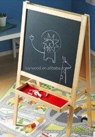 wooden magnetic drawing board with storage shelf for child
