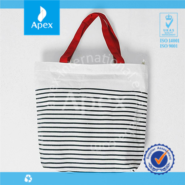 Wholesale stripe canvas beach tote bag