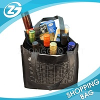 Printed Strong Durable Divided Non Woven 6 Bottle Wine Tote Bag