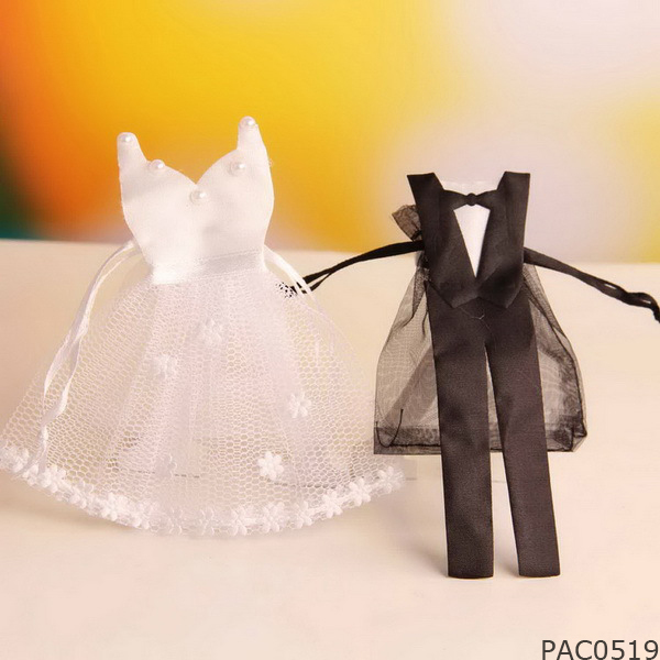 Adorable Bride and Groom Satin and Tulle Bachelor Party/Bridal Shower Treat Candy Dress Tuxedo Gown Wedding Favor Bags