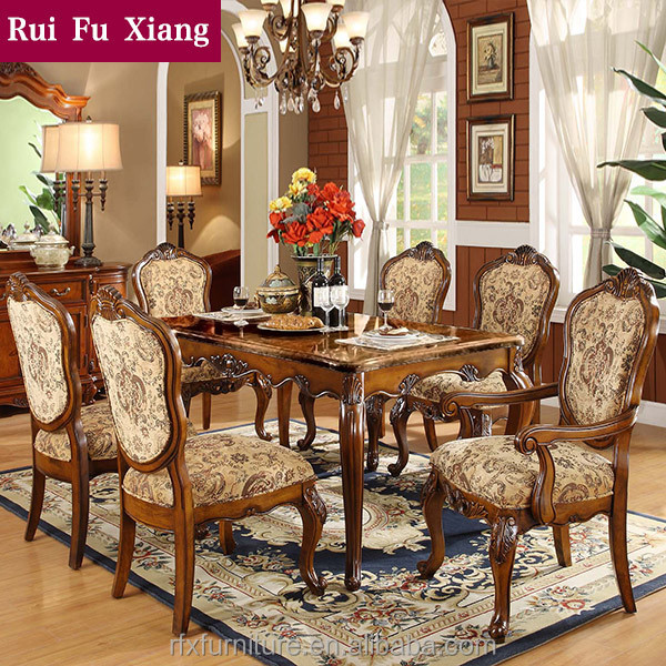 Federal Style Sectional Dining Table With Fabric Chairs For Dining Room Sets