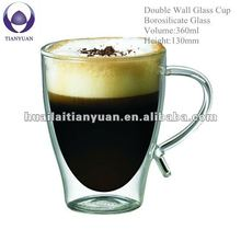 handblown borosilicate double wall glass cup with handle