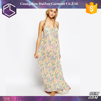 Daijun oem fashion chiffon new model casual sleeveless print long beach dresses