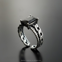 Wholesale free size cool girls 925 sterling silver black square stone rings
