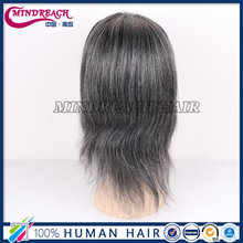 Silky Straight mixed human hair grey lace front wig