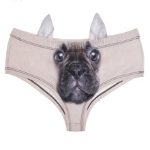 New arrival fashion hot cute sexy women ladies brief panties thongs knickers 3d ear animal dog cat wolf print <strong>underwear</strong>