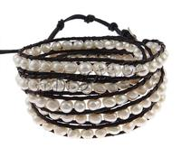 Leather 4-5mm pearl wrap leather bracelets